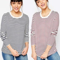 ASOS Long Sleeve Crew Neck Stripe With Tipping 2-Pack Save 10%