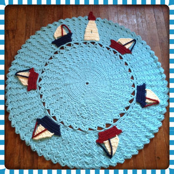 "Large, Thick and Soft Crochet 36"" Round Nautical Sailboat Nursery Area Rug (Sea in Popsicle Blue) Many Color Choices- Mat Housewares Decor"