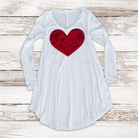 Valentines Day Sequin Heart Babydoll Tunic Top - T Shirt with Red Heart Sequin Patch