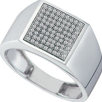 Diamond Micro Pave Mens Ring in 10k White Gold 0.25 ctw