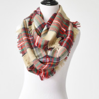 Light Brown & Red Plaid Infinity Scarf