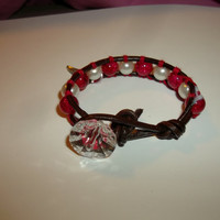 Red Hot 6 Inch Boho Chic Single Leather Wrap Bracelet with Red Glass Beads and White Pearls Angel Wing Dangle Charm Handmade Jewelry for Her