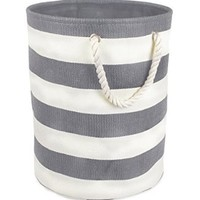 Woven Paper Textured Laundry Hamper or Basket, Collapsible & Convenient For Bedroom, Nursery, Dorm, or Closet - Large, Gray Stripe
