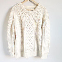 Vintage Fishermans Sweater -- Cable Knit Pullover -- Chunky Knit Wool Sweater -- Made in Ireland --  Warm -- Ivory Cream -- Size Large