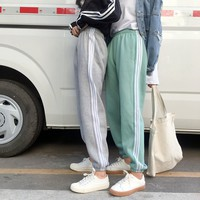 Winter Unisex Thickened Stripe Leisure Harem Pants Couple Sweatpants Trousers