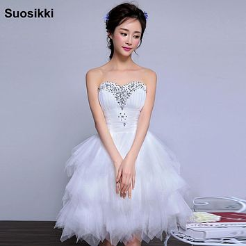 Free Shipping Cheap wedding dresses short  Beading sweet bridal dress plus size wedding ball gowns mariage vestidos de novia