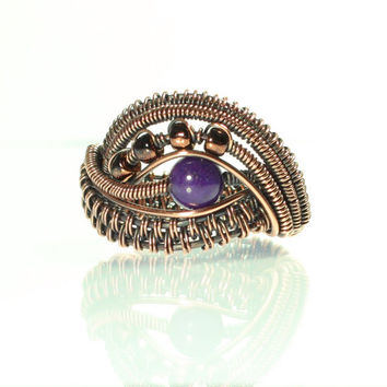 Amethyst Copper Wire Ring, Natural Purple Stone, Chocolate Beads, Woven, Wrapped, Women's, Unisex, Elephant Eye, Wide Band, Size 6