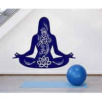 Vinyl Wall Decal Yoga Girl Meditation Lotus Pose Om Mantra Stickers Unique Gift (1604ig)