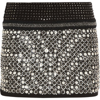 Roberto Cavalli|Embellished leather and suede mini skirt|NET-A-PORTER.COM
