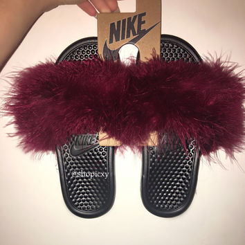 Black Bottom Nike Faux Fur Slides (custom)