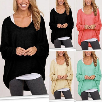 Korean Womens Plus Size Long Sleeve Pullover Casual Loose Baggy Loose Top Jumper = 1920289476