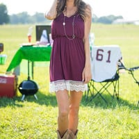 Guard Your Heart Dress, Burgundy
