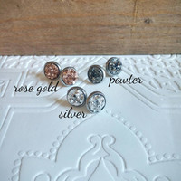 Druzy studs - silver stainless steel rose gold pewter silver 10mm