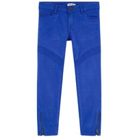 Girls Slim Fit Blue Pants with Zippers
