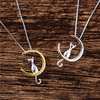 925 Sterling Silver Jewelry Moon Cat Kitty 925 Sterling Silver Chain Choker Necklaces & Pendants For Women Birthday Gift D301