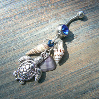 seashell and sea turtle belly ring sea turtle shells in beach boho gypsy hippie belly dancer  beach hipster and fantasy style