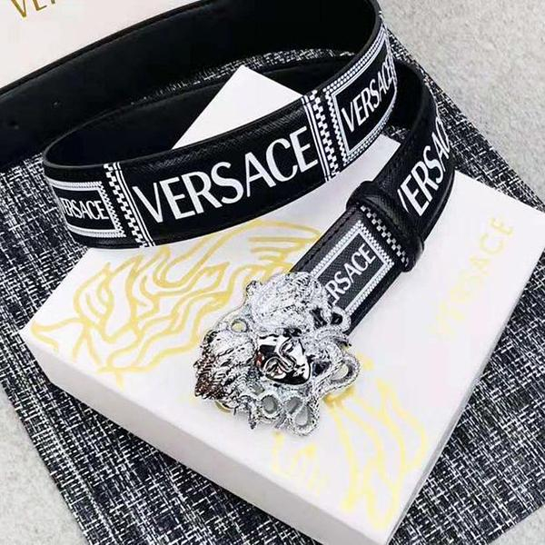 Image of Versace New fashion human head buckle letter print leather couple belt