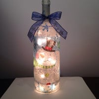 Snowman wine bottle lamp, Christmas wine bottle lamp, Winter decorations, accent lamp, nightlight