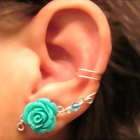 "Non Pierced Ear Cuff  ""Desert Rose"" Cartilage Conch Cuff Silver tone and Turquoise/Teal Lucite Rose"