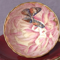 Antique Aynsley butterfly tea cup set, hand painted tea cup, red tea cup and saucer, English tea cup, bone china tea cup, antique tea cup