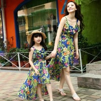 family clothing summer style matching mother daughter clothes cotton beach floral mom and daughter dress retail 1 pcs