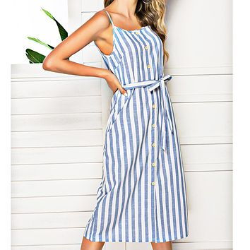 Hot selling sexy women's simple fashion stripe pocket bow cardigan halter dress Sky blue Only 1 piece