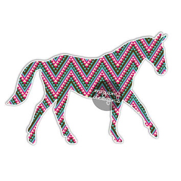 Tribal Horse Car Decal - Vinyl Car Bumper Sticker Laptop Decal Colorful Pattern Horse Pet Cute Car Decal Equestrian Pony Sticker Country