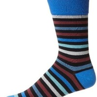 PACT Men's All Over Navy Stripe Crew Sock, Blue, One Size