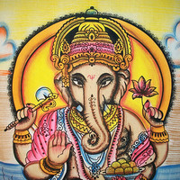 Twin 100% Cotton Hand Brush Ganesha Tapestry Wall Hanging Indian Bedspread Hippie Bohemian Throw Ethnic Home Decorative Art