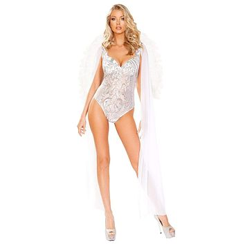 Sexy Angel Romper with Maxi Length Sheer Shoulders