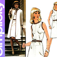 1970s Dress Pattern Bust 38 40 Simplicity 6200 A Line Dress Sleeveless with Braid Trim and Duster Clutch Coat Womens Vintage Sewing Patterns
