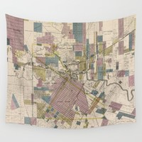 Vintage Map of Houston Texas (1895) Wall Tapestry by BravuraMedia