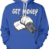 Get Money, Cartoon Hands Holding a Gun Two Tone Hooded Sweatshirt (Royal, Small)