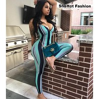 Women Summer Sexy Striped Spaghetti Strap Jumpsuit