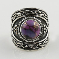 Purple Copper Turquoise Woven Sterling Silver Ring