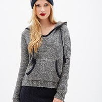 FOREVER 21 Marled Knit Hooded Sweater Grey/Cream