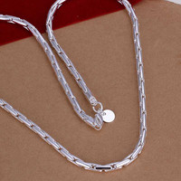 silver plated Chain Lock Chain Necklaces Pendants Men jewelry 59 MP