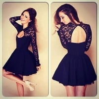 Women Fall Dresses New 2017 Women Autumn Winter Sexy Backless Dress Long Sleeve Casual Mini Vintage Party Dresses