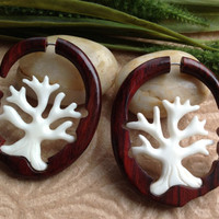 """Fake Gauge Earrings, """"Tree of Life"""" Naturally Organic, Hand Carved, Sono Wood and Bone"""