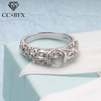 CC Vintage Rings For Women Palace Pattern Silver Ring Cubic Zirconia Wedding Engagement Bridal Jewelry CC1495