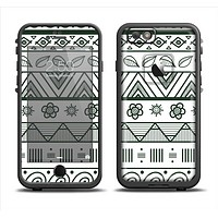 The Black & White Floral Aztec Pattern Apple iPhone 6 LifeProof Fre Case Skin Set