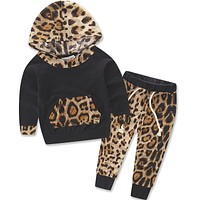 born Infantil Toddler Kid Baby Boys Baby Girls Unisex Leopard Pullover Hooded Coat + Pants 2PCS Set Clothes Outfit