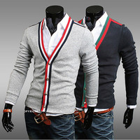 Tricolor Trim Slim Fit Cardigan
