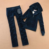 Juicy Couture Studded Luxurious Jc Velour Tracksuit 8606 2pcs Women Suits Navy