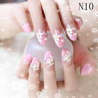 French Pre Design Beautiful 3d False Nails Tips Fake Nail French Nail Art Tips With Fast Glue 24Pcs/set Nails Tips