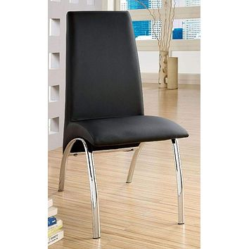 Glenview Contemporary Side Chair, Black Finish-Set Of 2 By Casagear Home