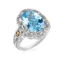 18K Yellow Gold and Sterling Silver Ring with Blue Topaz and Diamonds: Size 6