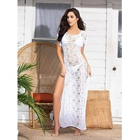 White Sheer Crochet Netting Long Cover Up Beach Dress