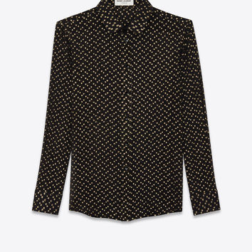 SAINT LAURENT ‎SHIRT IN SILK CREPON WITH LAMÉ POLKA DOTS ‎ | YSL.COM