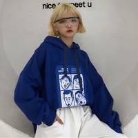 Fashion Sweatshirts Women 2018 Korean Ulzzang Harajuku Cartoon Printed Loose Hooded Sweatshirt Hoodies Female Casual Clothing